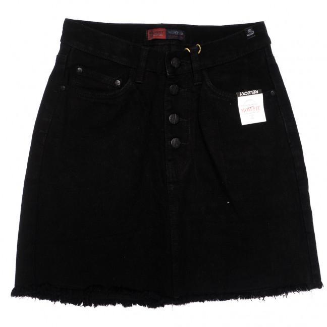 9916-5 V Relucky юбка джинсовая на пуговицах черная осенняя коттоновая (25-30, 6 ед.) Relucky: артикул 1110594