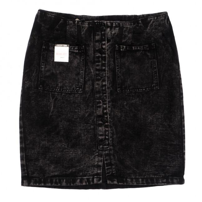 9914-5 V Relucky юбка джинсовая полубатальная на пуговицах темно-серая осенняя коттоновая (28-33, 6 ед.) Relucky: артикул 1110588