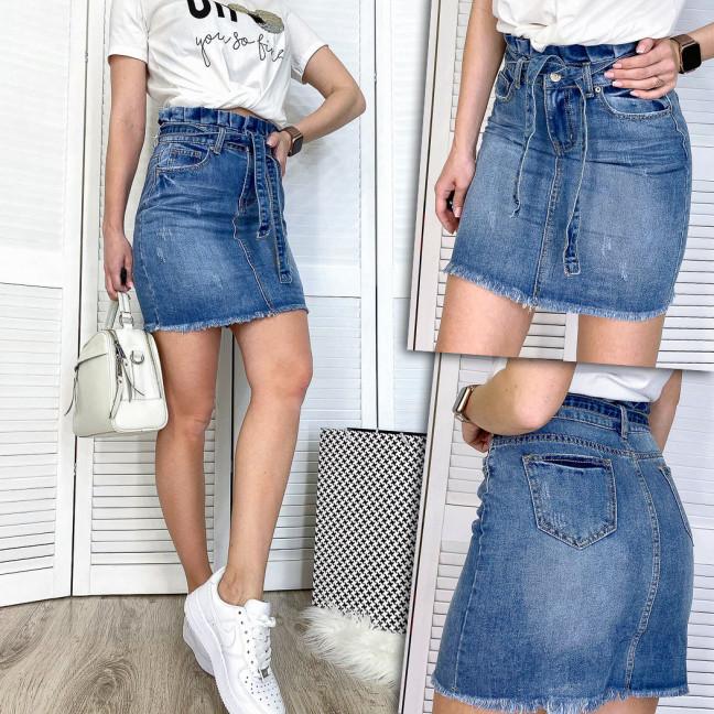 3699 New jeans юбка джинсовая с царапками синяя весенняя коттоновая (25-30, 6 ед.)  New Jeans: артикул 1108994