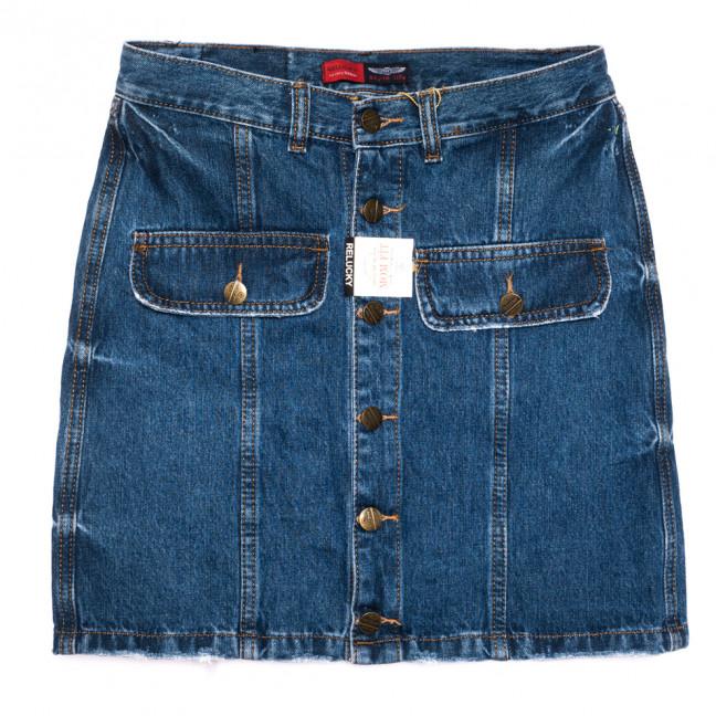 9905-5 V Relucky юбка джинсовая на пуговицах синяя осенняя коттоновая (25-30, 6 ед.) Relucky: артикул 1110592