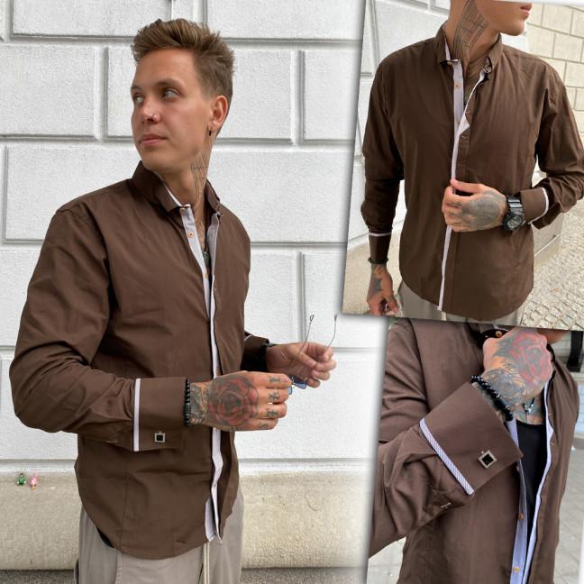 Коричневая мужская рубашка Afish 2978-1 Afish: артикул 1110653