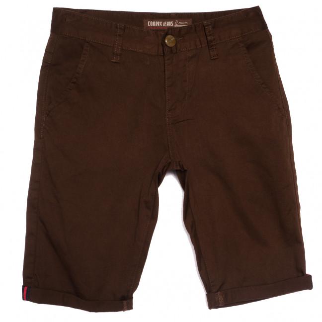 87015 Compax шорты джинсовые мужские молодежные темно-коричневые стрейчевые (27-34, 8 ед.) Compax: артикул 1109920