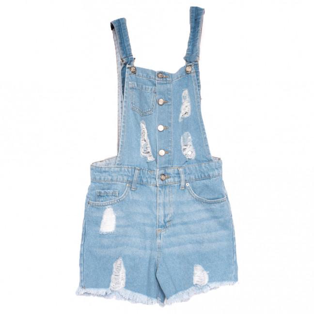 0281 Geronis комбинезон-шорты джинсовый женский с рванкой синий весенний коттоновый (26-32, 8 ед.) Geronis: артикул 1110302