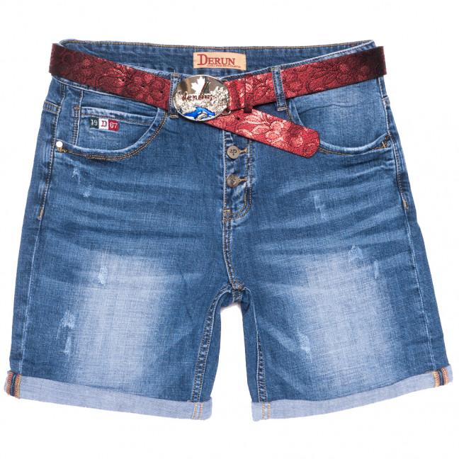 7070 Derun шорты джинсовые женские батальные с царапками синие стрейчевые (31-38, 6 ед.) Derun: артикул 1109994