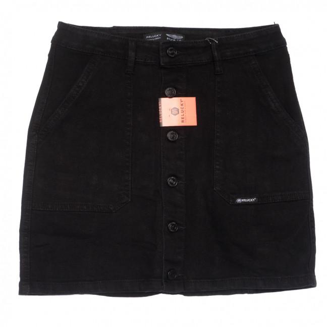 0040-2 V Relucky юбка джинсовая на пуговицах черная осенняя стрейчевая  (25-30, 6 ед.) Relucky: артикул 1110348