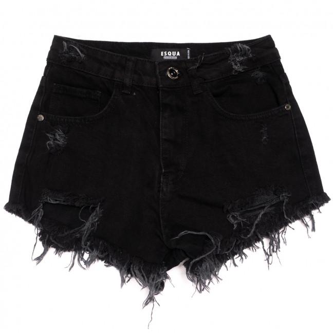 1503 Black Esqua шорты джинсовые женские с рванкой черные коттоновые (25-30, 6 ед.) Esqua: артикул 1110468