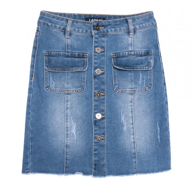 1554 Lady N юбка джинсовая на пуговицах с царапками синяя весенняя стрейчевая (25-30, 6 ед.) Lady N: артикул 1109747
