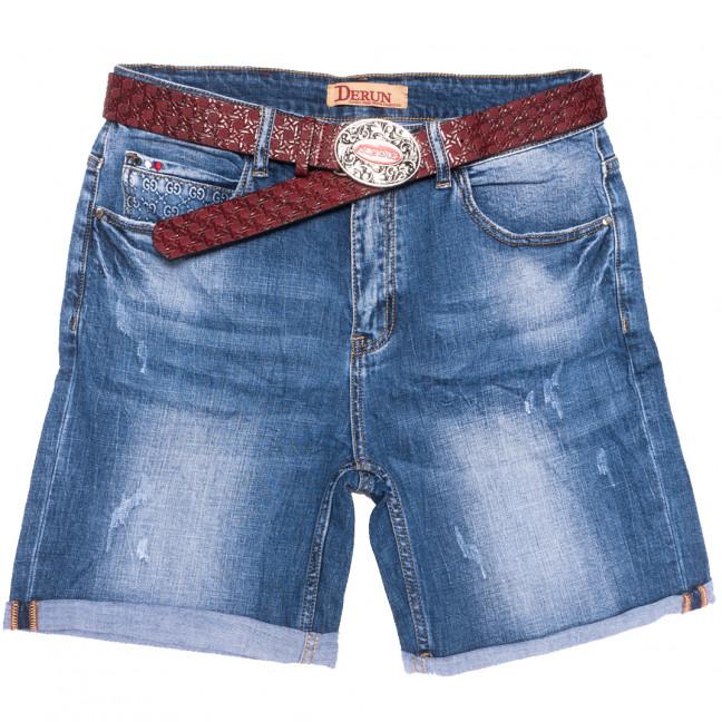 7077 Derun шорты джинсовые женские батальные с царапками синие стрейчевые (32-42, 6 ед.) Derun: артикул 1109996