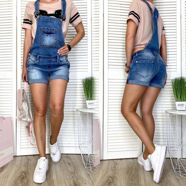 8236 Vanver комбинезон-шорты джинсовый женский полубатальный синий весенний стрейчевый (28-33, 6 ед.) Vanver: артикул 1108522