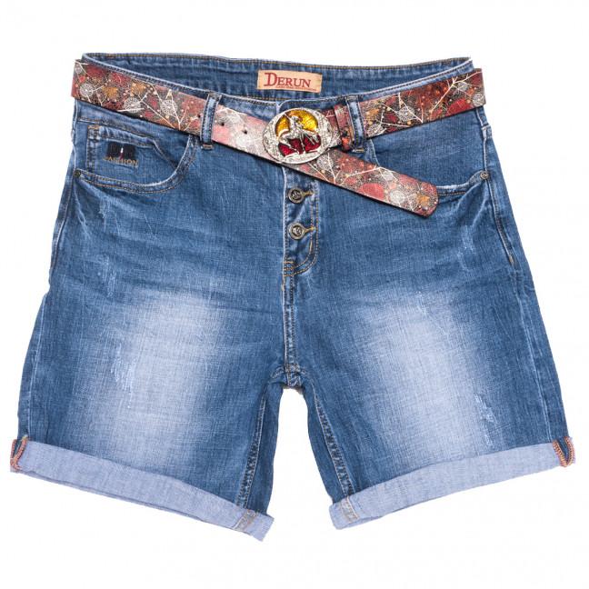 7081 Derun шорты джинсовые женские батальные с царапками синие стрейчевые (31-38, 6 ед.) Derun: артикул 1109998