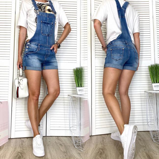 8235 Vanver комбинезон-шорты джинсовый женский с царапками синий весенний стрейчевый (25-30, 6 ед.) Vanver: артикул 1108523