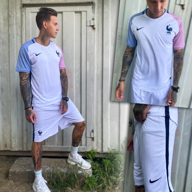 4020 костюм мужской футбольный белый с вышивкой (S,M,L,XL, 4 ед.) Костюм: артикул 1109944