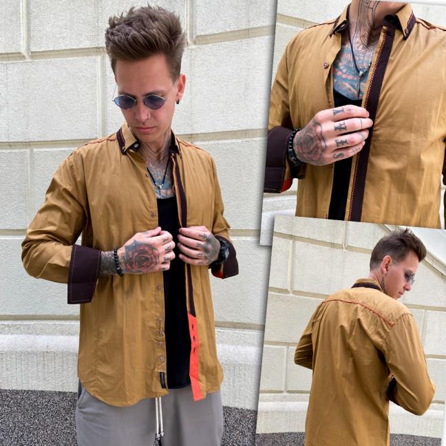Горчичная мужская рубашка YXC 2010-6 YXC: артикул 1110658