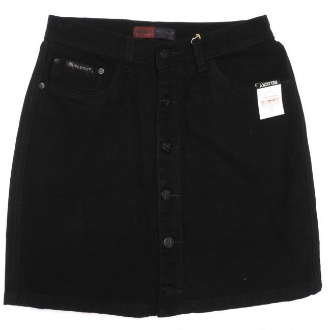 9911-5 V Relucky юбка джинсовая на пуговицах черная осенняя коттоновая (25-30, 6 ед.) Relucky: артикул 1110593