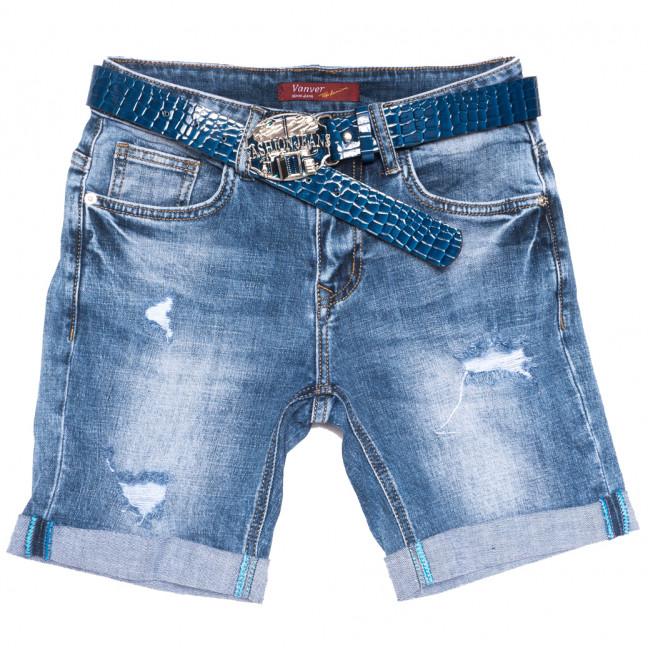 8378 Vanver шорты джинсовые женские с рванкой синие стрейчевые (25-30, 6 ед.) Vanver: артикул 1109986