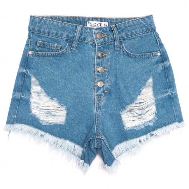 5864 Gecce шорты джинсовые женские с рванкой синие коттоновые (34-40,евро, 6 ед.) Gecce: артикул 1110689