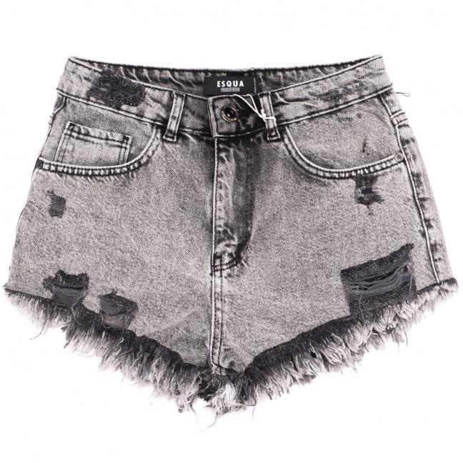 15031 Esqua шорты джинсовые женские с рванкой серые коттоновые (26-31, 6 ед.) Esqua: артикул 1110694