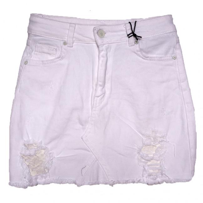 2812 Sashа юбка джинсовая с рванкой белая весенняя коттоновая (S-L, 6 ед.) Sasha: артикул 1110751