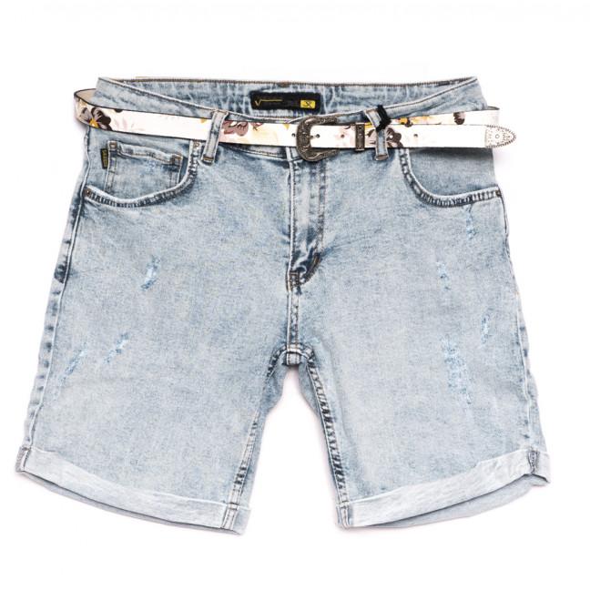 0326 Sherocco шорты джинсовые женские полубатальные с царапками синие стрейчевые (28-33, 6 ед.) SheRocco: артикул 1110850