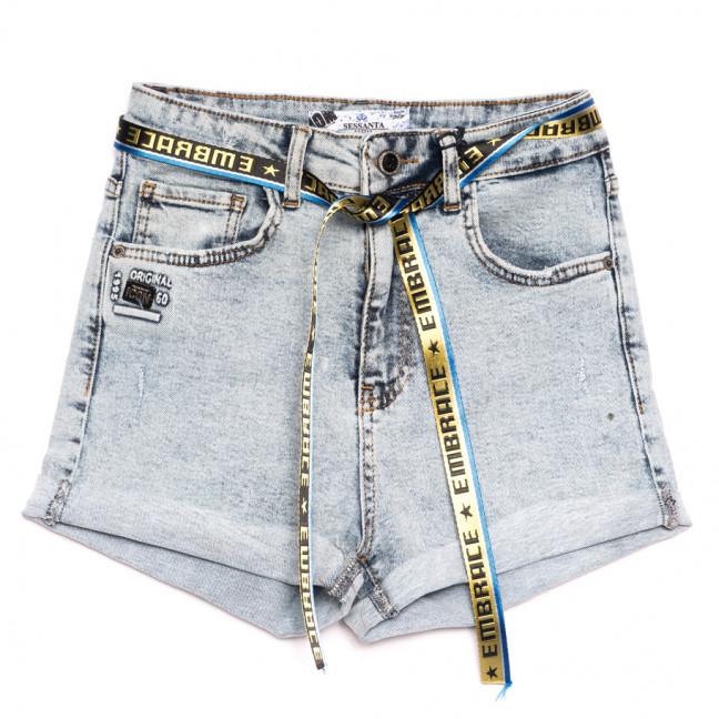 5412 синие Sessanta шорты джинсовые женские с царапками стрейчевые (25-30, 6 ед.) Sessanta: артикул 1110843