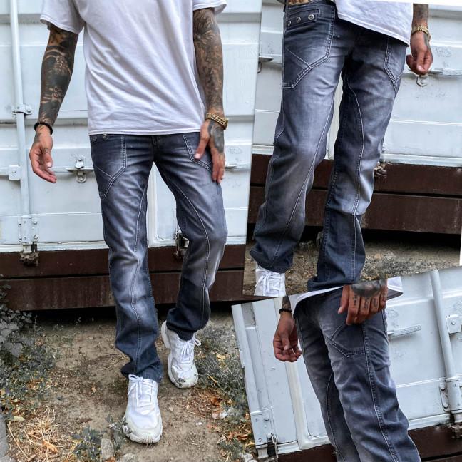 5869 Vigoocc джинсы мужские молодежные с декоративной отделкой серые осенние котоновые (28-34, 7 ед.) Vigoocc: артикул 1112967