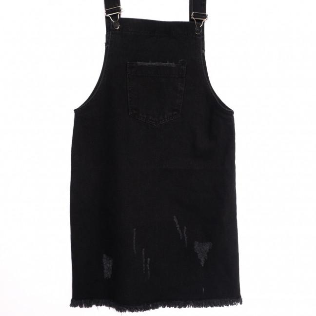 3310 YMR сарафан джинсовый с царапками черный осенний коттоновый (S-L, 6 ед.) YMR: артикул 1112946
