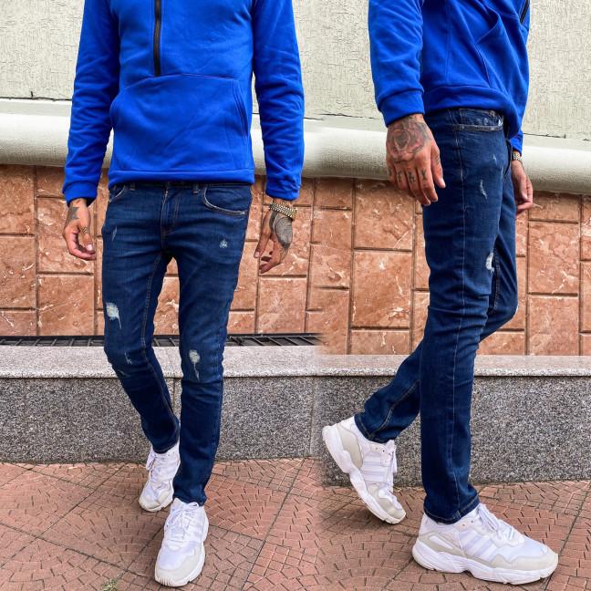 4046-1 Big&Grays джинсы мужские с рванкой синие осенние стрейчевые (32,32,34,36,38,38,40, 7 ед.) Джинсы: артикул 1112232