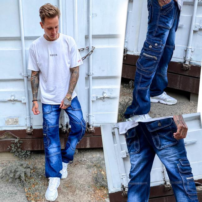5827-1 Vigoocc джинсы мужские карго синие осенние котоновые (29-36, 7 ед.) Vigoocc: артикул 1112964