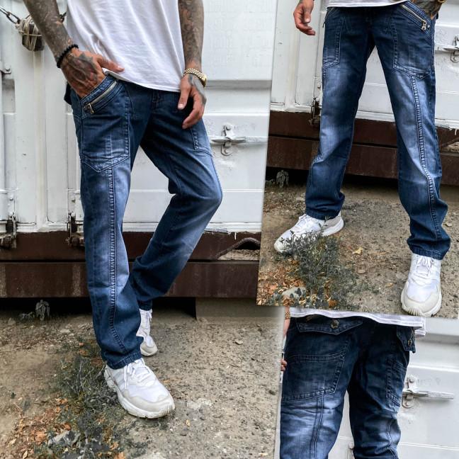 5812-3 Vigoocc джинсы мужские молодежные с декоративной отделкой синие осенние котоновые (28-34, 7 ед.) Vigoocc: артикул 1112963