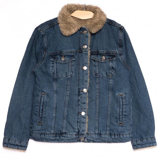 2363 куртка джинсовая женская на меху синяя осенняя коттоновая (S-L, 5 ед.) Куртка: артикул 1115029