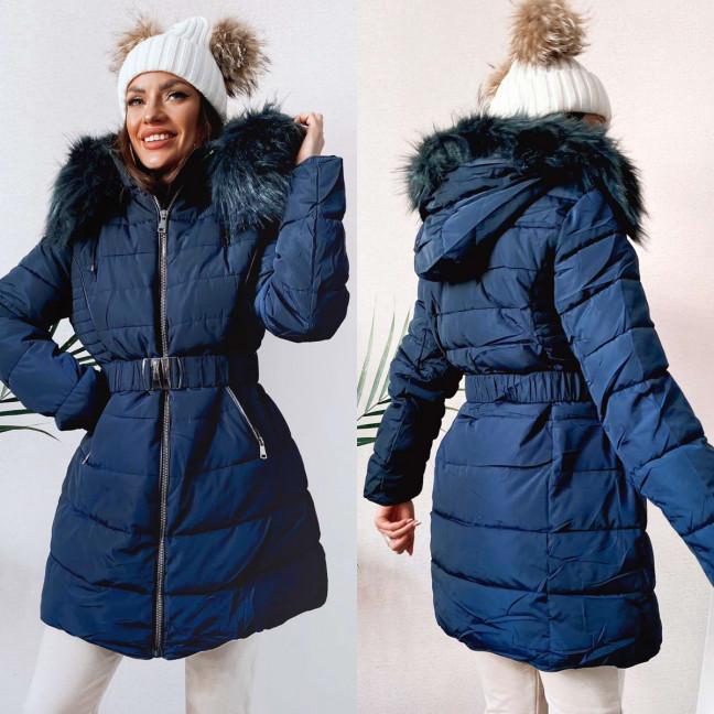 82872 темно-синяя Shengda куртка женская на утплителе с мехом зимняя (M-3XL, 5 ед.) #суперцена Shengda: артикул 1114265
