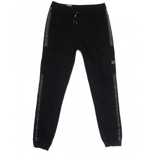 7035 (7035A) LS брюки карго мужские молодежные черные осенние стрейчевые (27-34, 8 ед.) Vitions: артикул 1114254