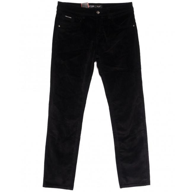 7024 (7024D) LS брюки мужские вельветовые полубатальные черные осенние стрейчевые (32-42, 8 ед.) LS: артикул 1114248