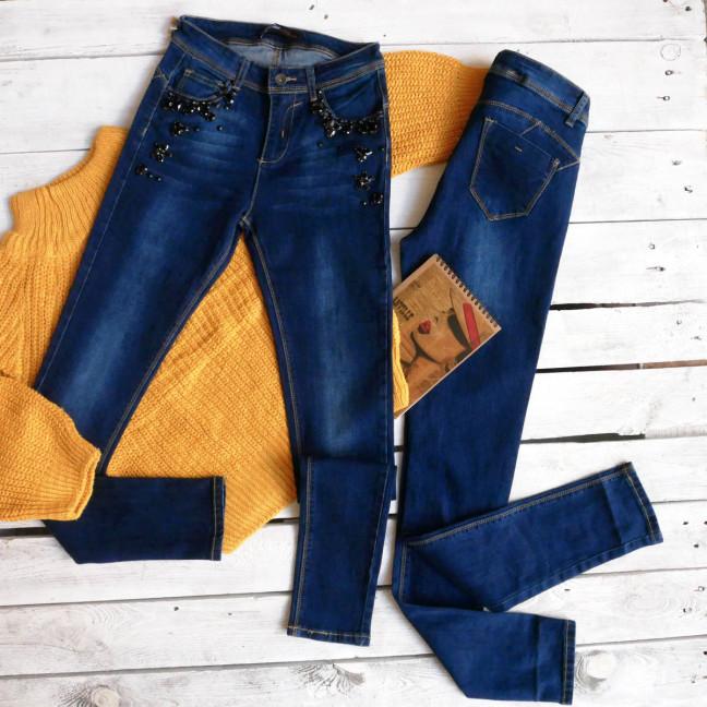 8016 XD американка синяя с декоративными элементами осенняя стрейчевая (25-30, 6ед.) XD: артикул 1114343