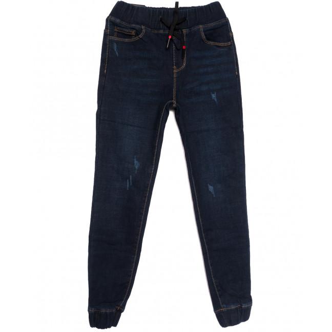 0607 Little Star джинсы на мальчика на резинке на флисе с царапками  синие зимние стрейчевые (23-28, 6 ед.) Little Star: артикул 1113840