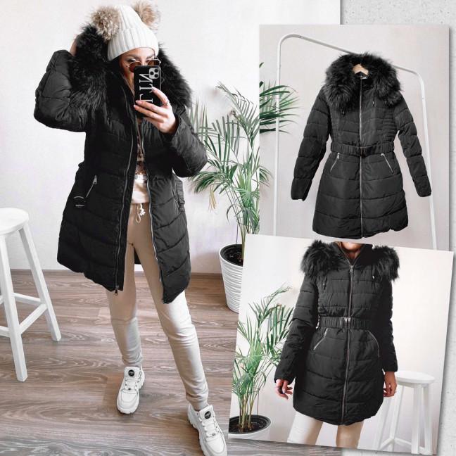 82871 черная Shengda куртка женская на утеплителе с мехом зимняя (M-3XL, 5 ед.) #суперцена Shengda: артикул 1114264