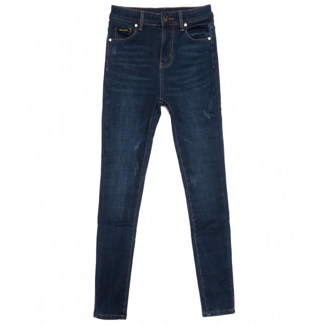 0586 New Jeans американка на флисе с царапками синяя зимняя стрейчевая (25-30, 6 ед.) New Jeans: артикул 1113817
