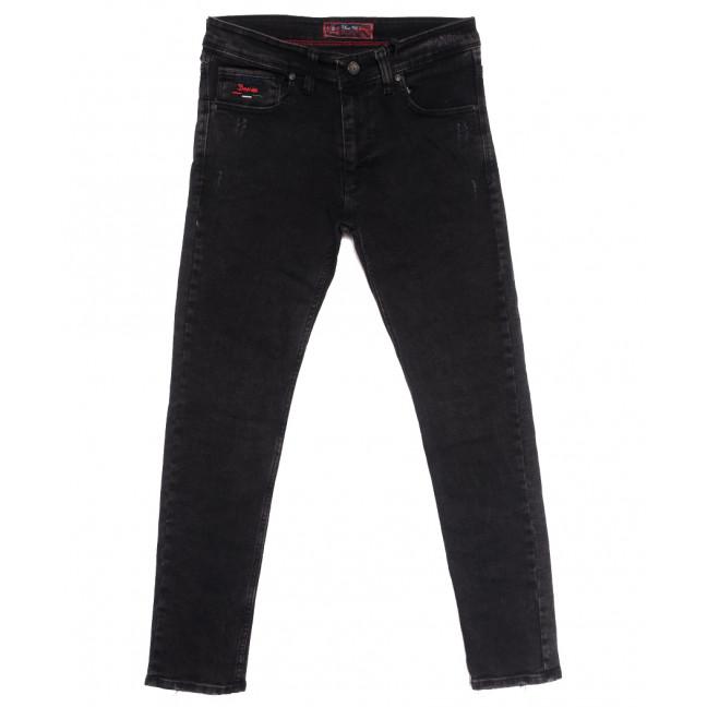 7255 Blue Nil джинсы мужские полубатальные с царапками серые осенние стрейчевые (32-40, 8 ед.) Destry: артикул 1114024