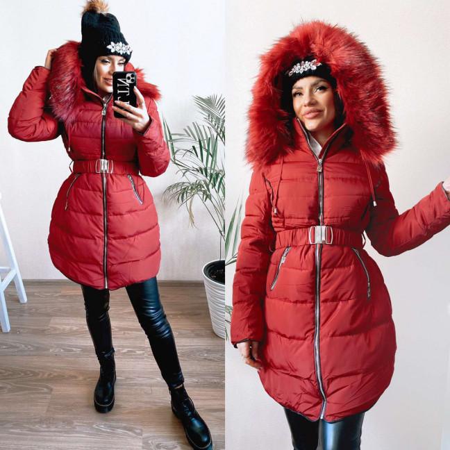 82873 красная Shengda куртка женская на утплителе с мехом зимняя (M-3XL, 5 ед.) Shengda: артикул 1114266