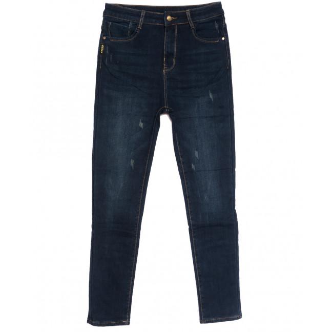 0595 New Jeans американка батальная на флисе с царапками синяя зимняя стрейчевая (31-36, 6 ед.) New Jeans: артикул 1113811