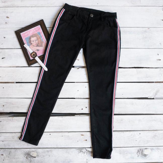 16897 джинсы женские с лампасами черные осенние стрейчевые (XS-XL, 5 ед.) Джинсы: артикул 1107511