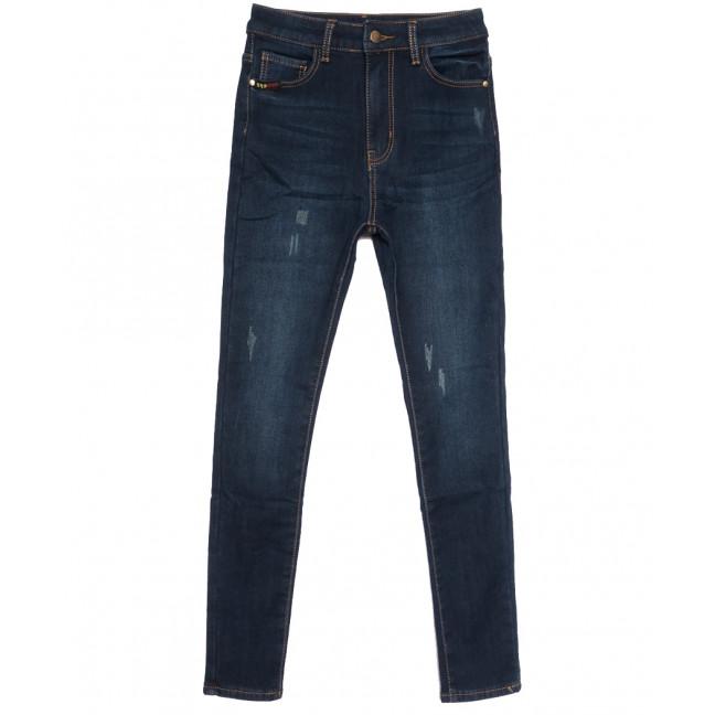 0593 New Jeans американка полубатальная на флисе с царапками синяя зимняя стрейчевая (28-33, 6 ед.) New Jeans: артикул 1113804