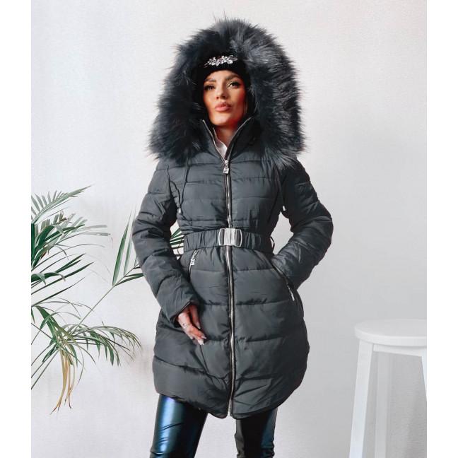 82875 темно-серая Shengda куртка женская на утплителе с мехом зимняя (M-3XL, 5 ед.) #суперцена Shengda: артикул 1114268