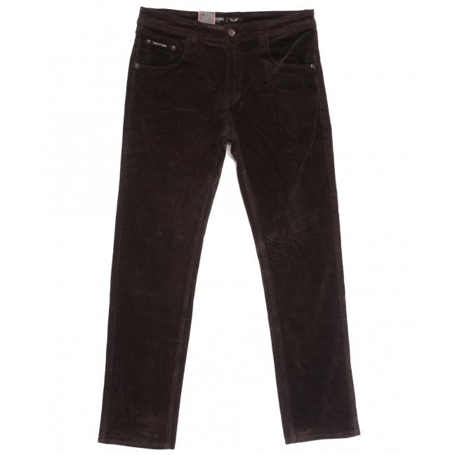 7022 (7022D) LS брюки мужские вельветовые полубатальные коричневые осенние стрейчевые (32-42, 8 ед.) LS: артикул 1114249