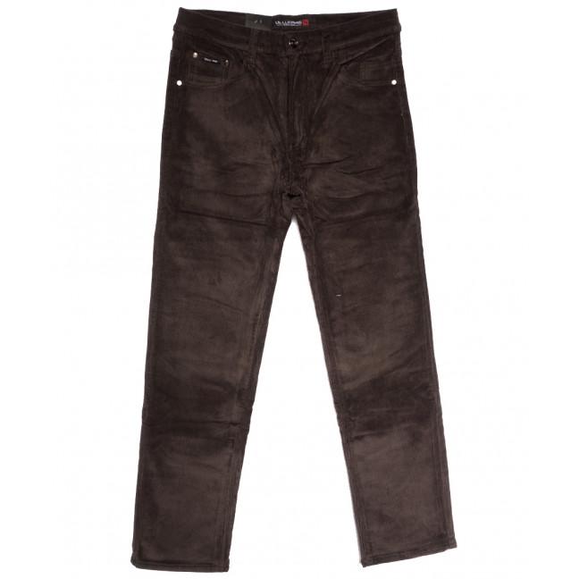 89027 LS брюки мужские вельветовые полубатальные на флисе коричневые зимние стрейчевые (32-40, 8 ед.) LS: артикул 1114596