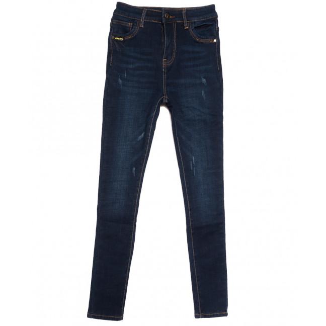 0590 New Jeans американка на флисе с царапками синяя зимняя стрейчевая (25-30, 6 ед.) New Jeans: артикул 1113805