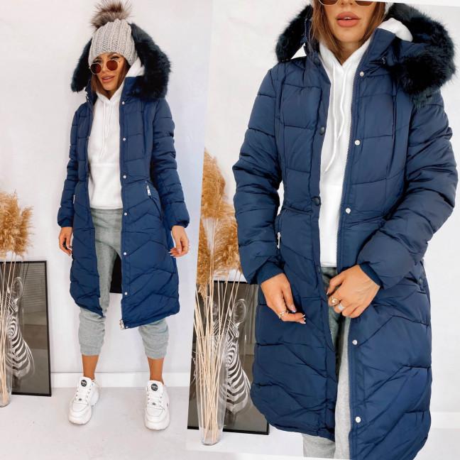 160762 темно-синяя Shengda куртка женская на утплителе с мехом зимняя (M-3XL, 5 ед.) Shengda: артикул 1114270