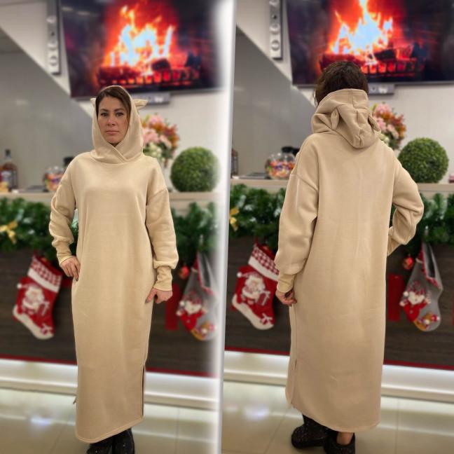 8118-4 Trend бежевое платье-худи трехнитка на флисе (1 ед. размеры: универсал 46/50)#естьрозница Trend: артикул 1117287
