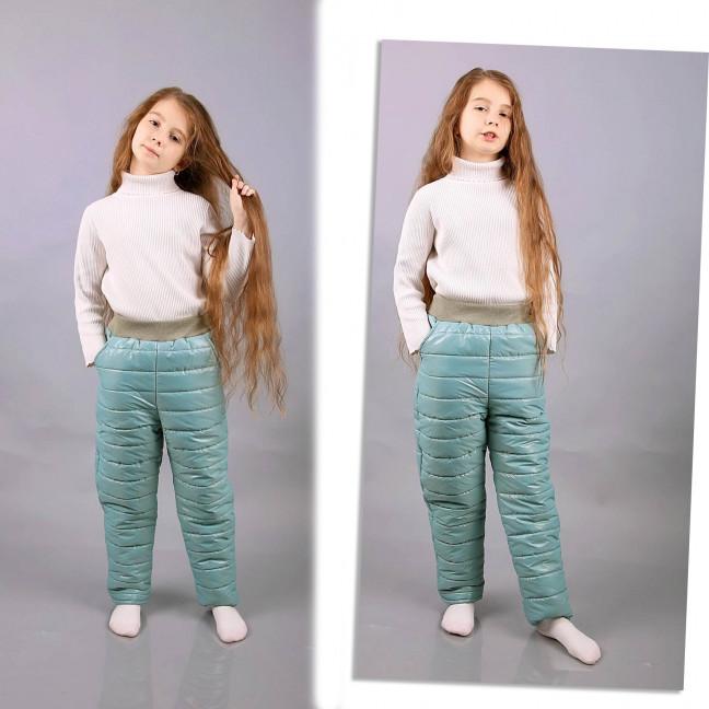 0121-8 Exclusive бирюзовые детские зимние штаны на синтепоне возраст 6-11 лет (6 ед. размеры: 116.122.128.134.140.146) Exclusive: артикул 1117451