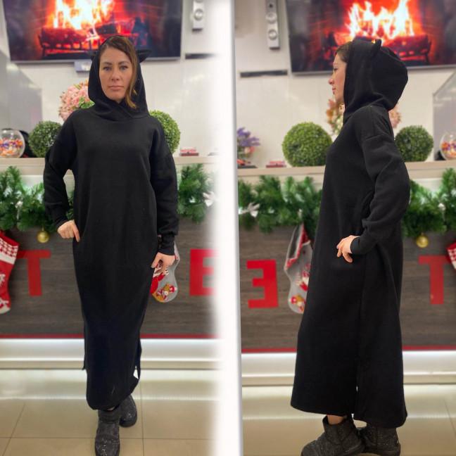 8118-1 Trend черное платье-худи трехнитка на флисе (1 ед. размеры: универсал 46/50)#естьрозница Trend: артикул 1117285
